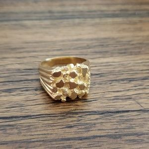Mens Gold Nugget Ring 12
